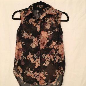 Fun & Flirt Vintage skull & rose sheer blouse XS